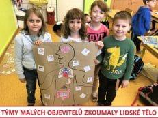 děti a výukový plakát s lidským tělem