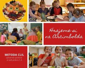 děti tvoří obrazy z ovoce
